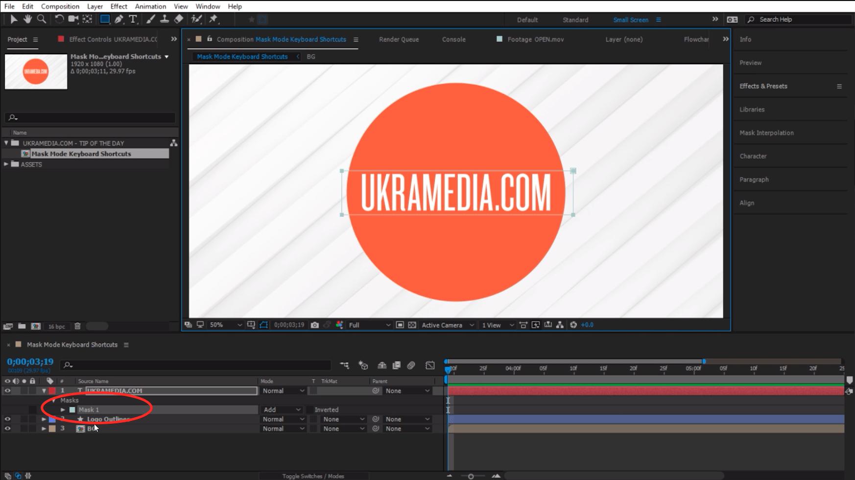 Adobe After Effects Mask Mode Keyboard Shortcuts
