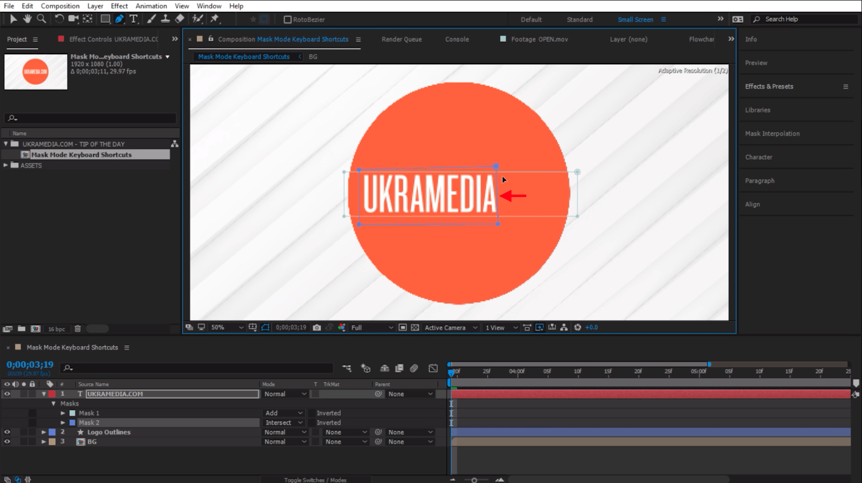 Active mode in after effects masking
