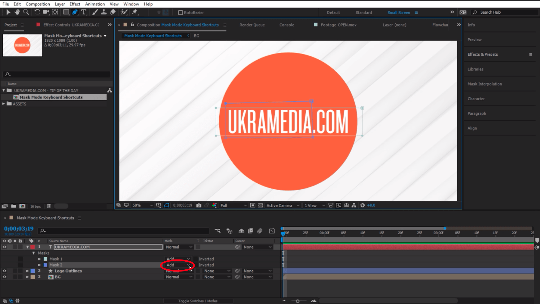 Mask mode visible in after effects after closing the mask