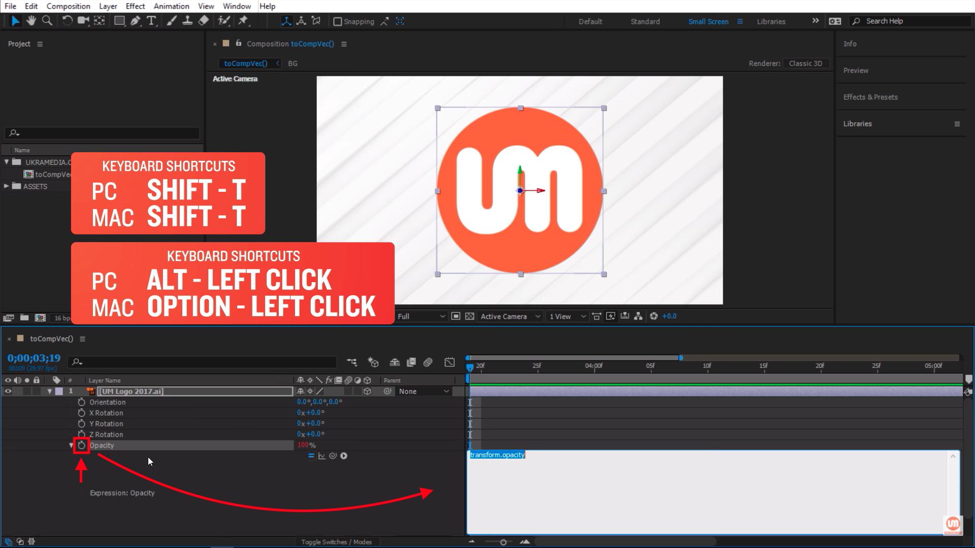 Activating After Effects Expressions with stopwatch icon