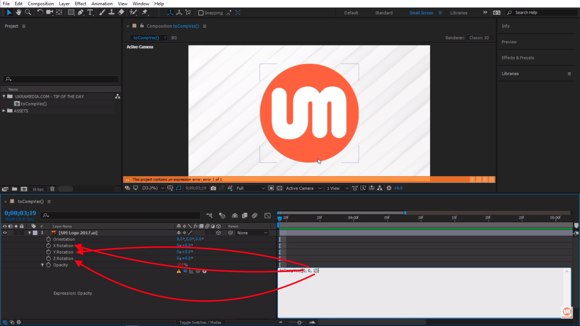 Applying toCompVec() to Rotations in After Effects