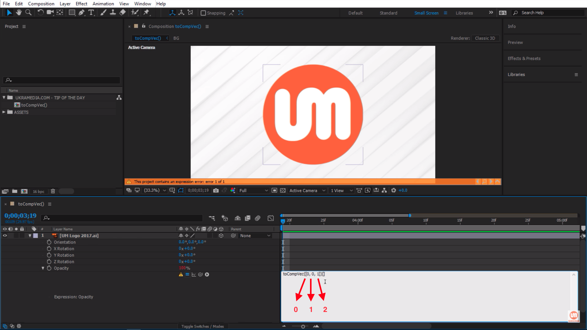 Working with toComVec() After Effects Expression