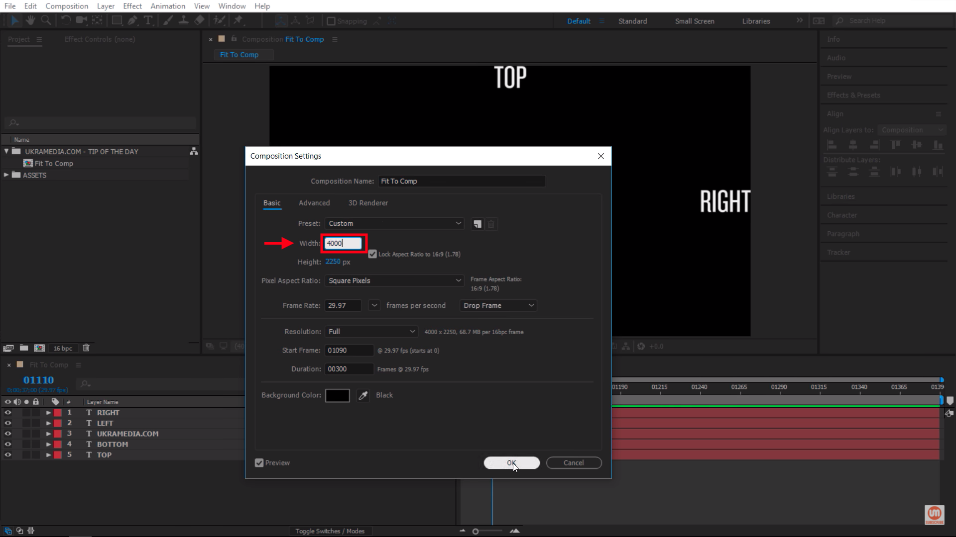 4k composition settings in After Effects