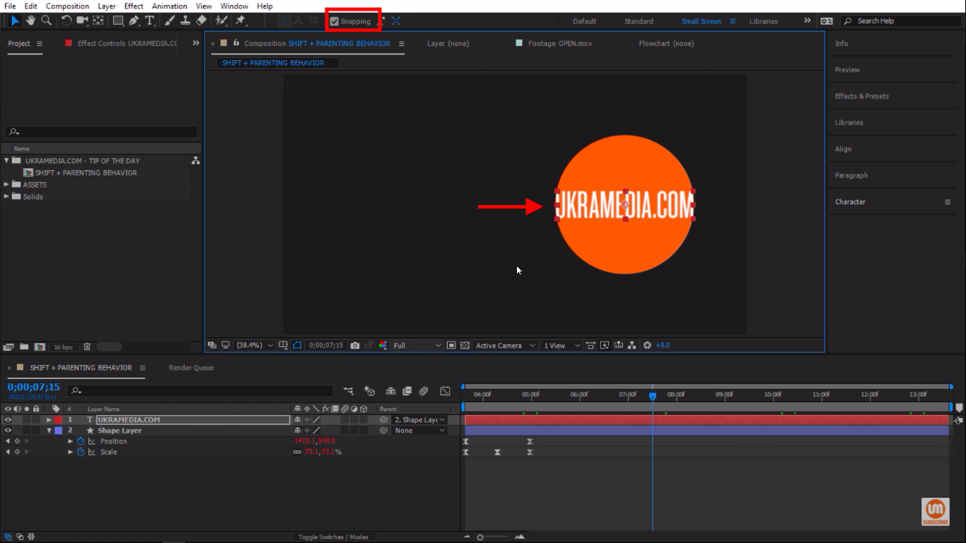 Activate the snapping tool in After Effects