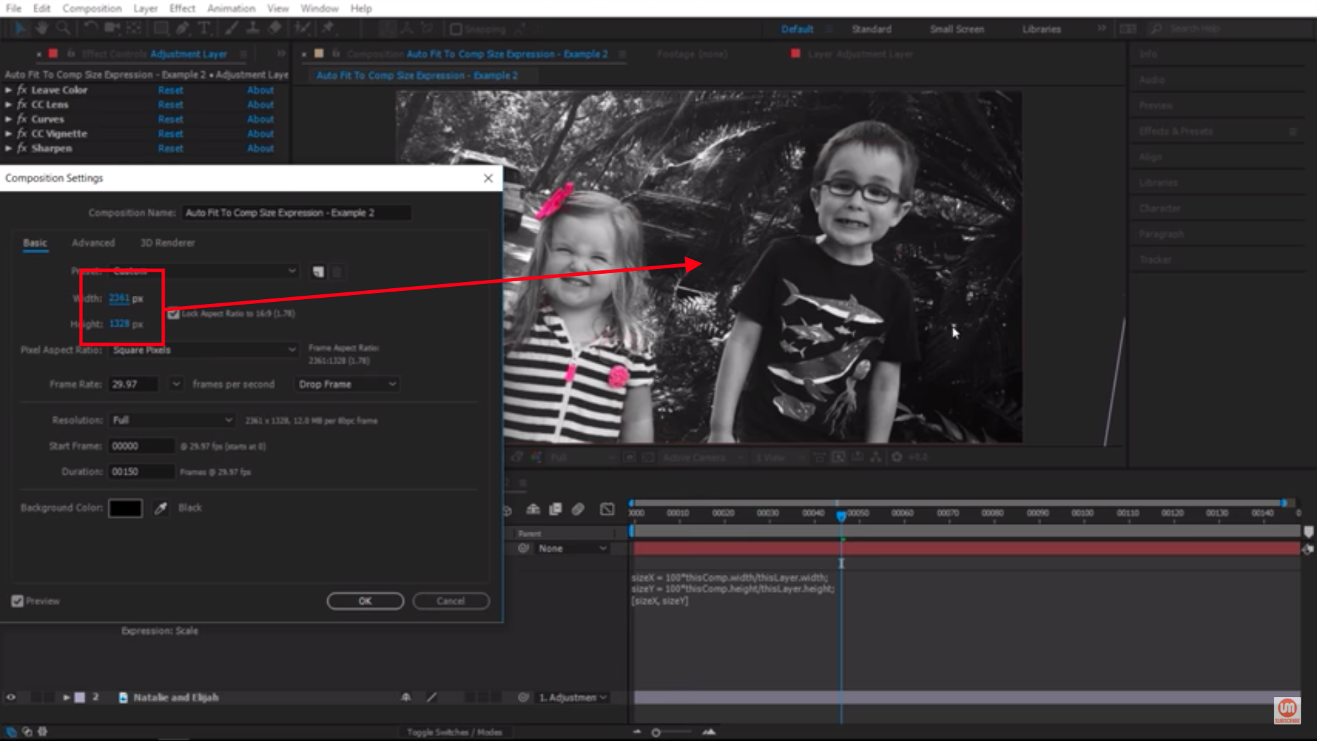 Adjusting Composition Settings in Adobe After Effects