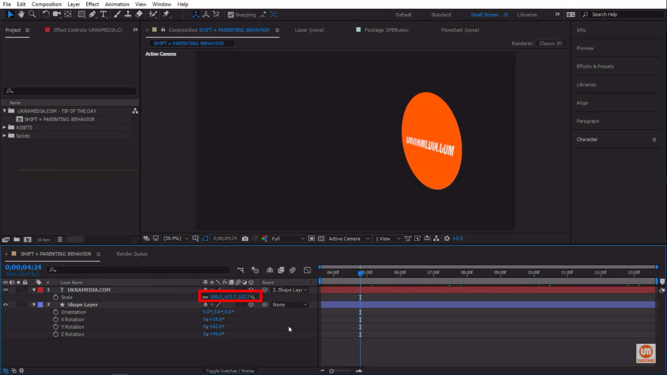 Adjusting Scale in After Effects