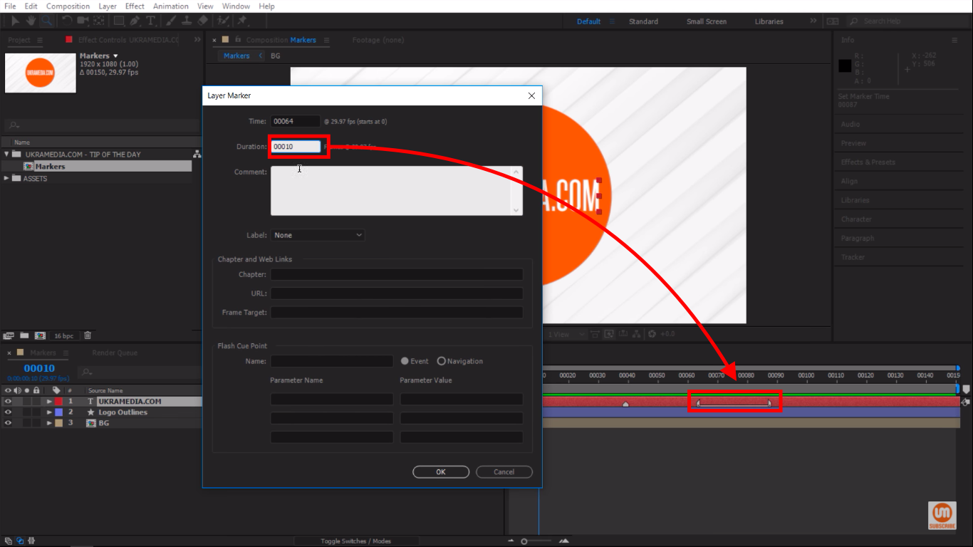 Adjusting layer marker duration manually in Adobe After Effects