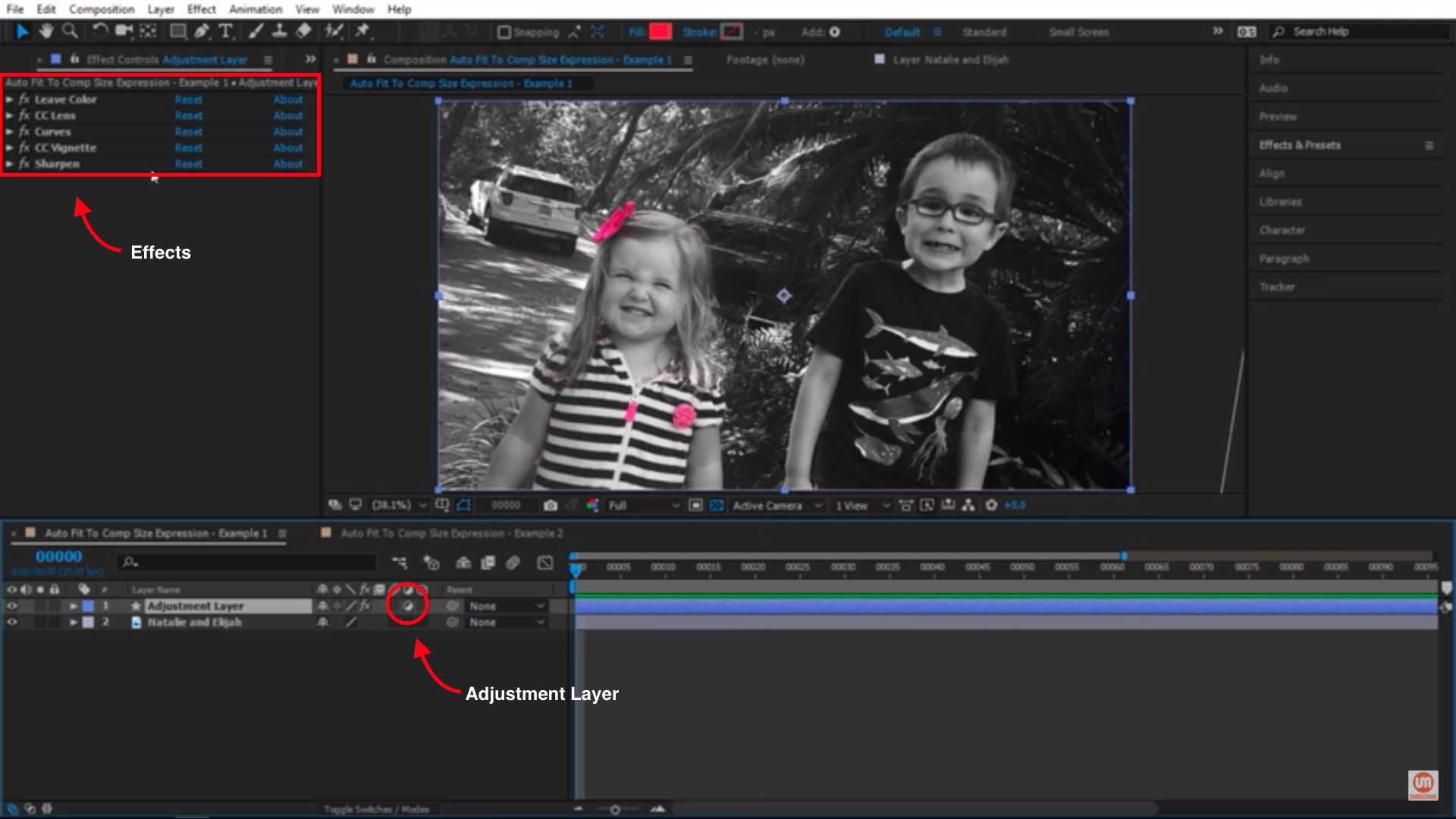 Adjustment layer with effects in After Effects