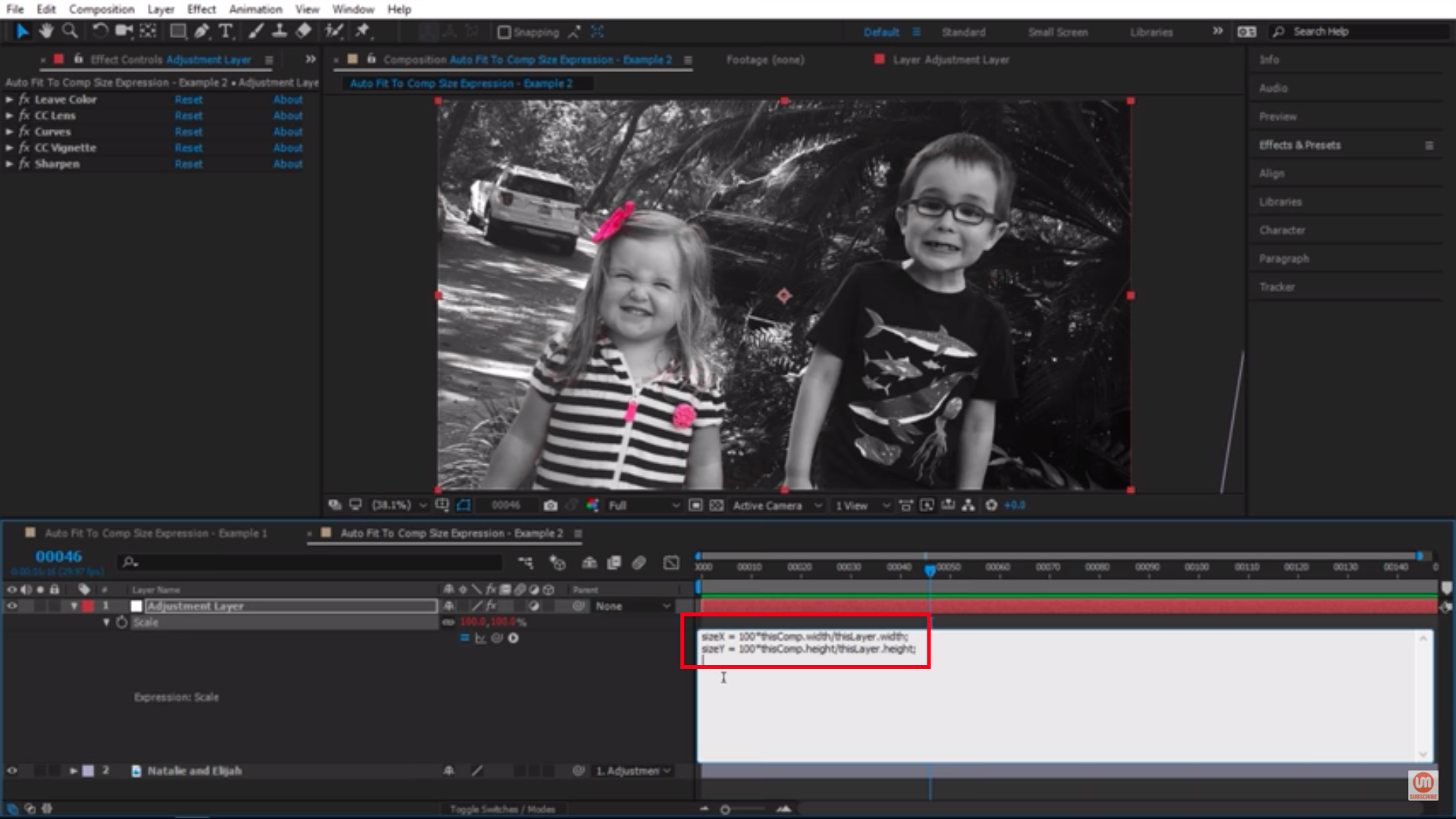 After Effects Expressions in white box