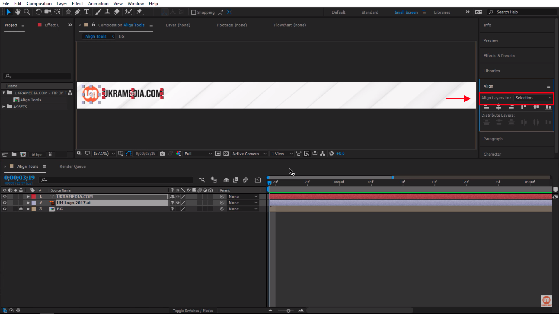 Align Layers to Selection in After Effects