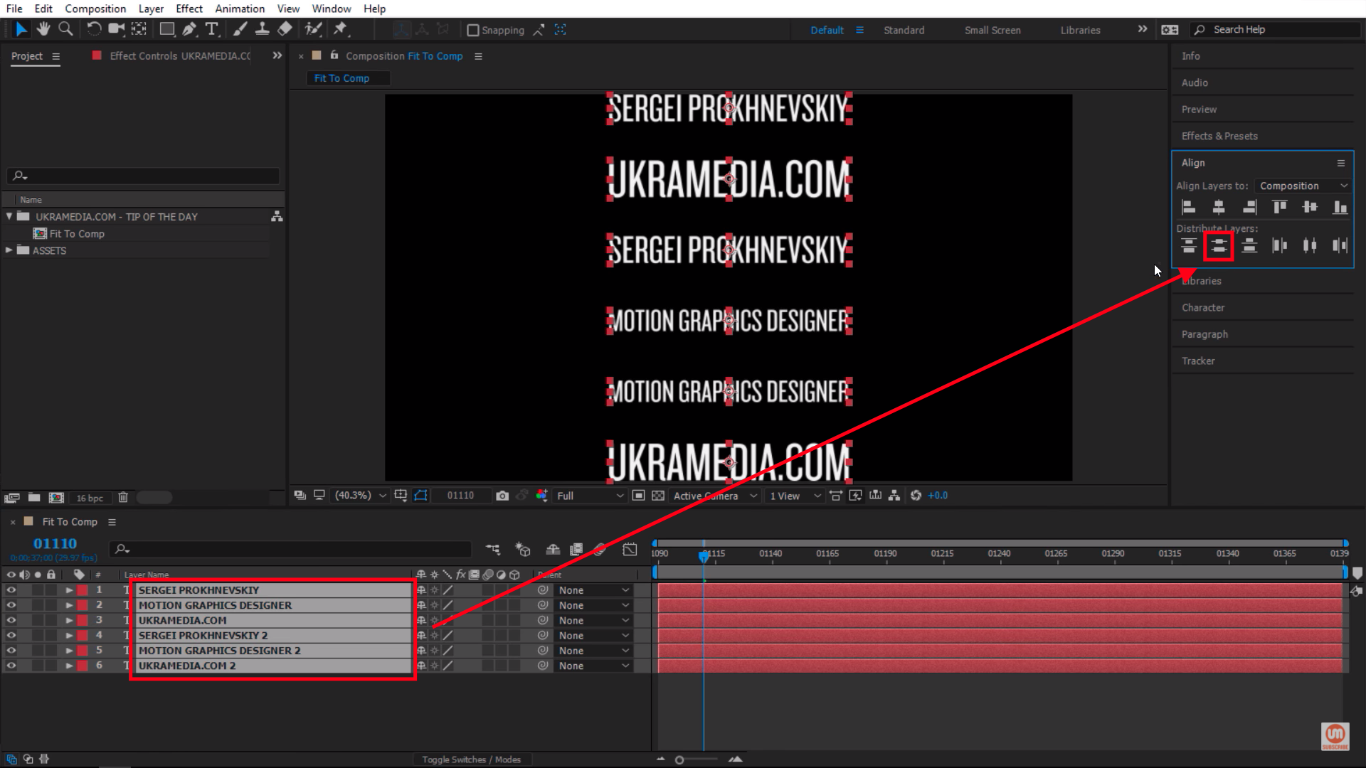 Align all layers in Adobe After Effects