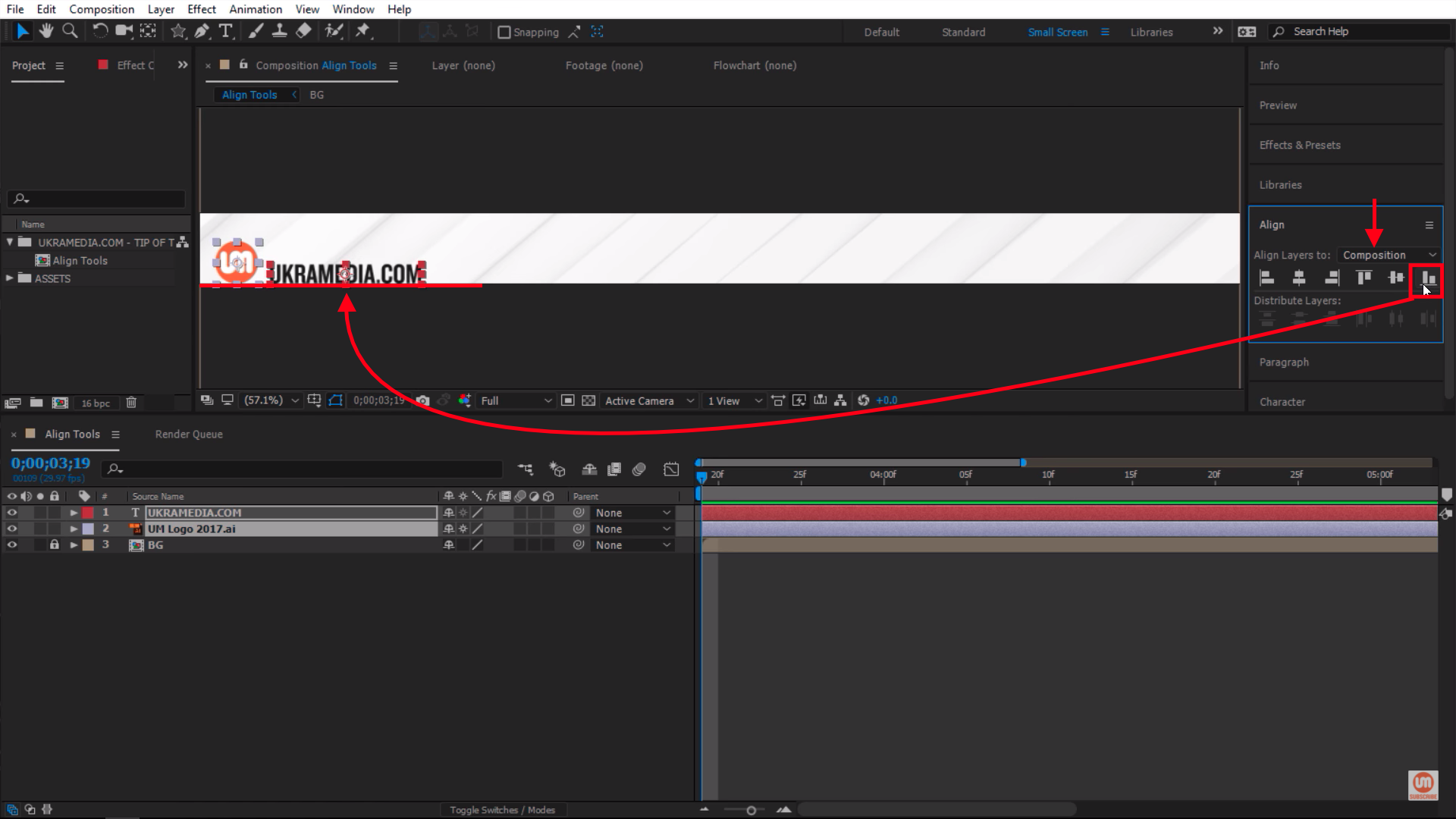 Align layer to the bottom of my composition in After Effects