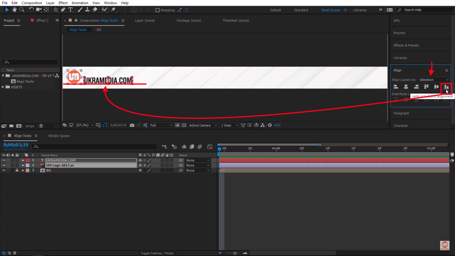 Align layer to the bottom of my selection in After Effects