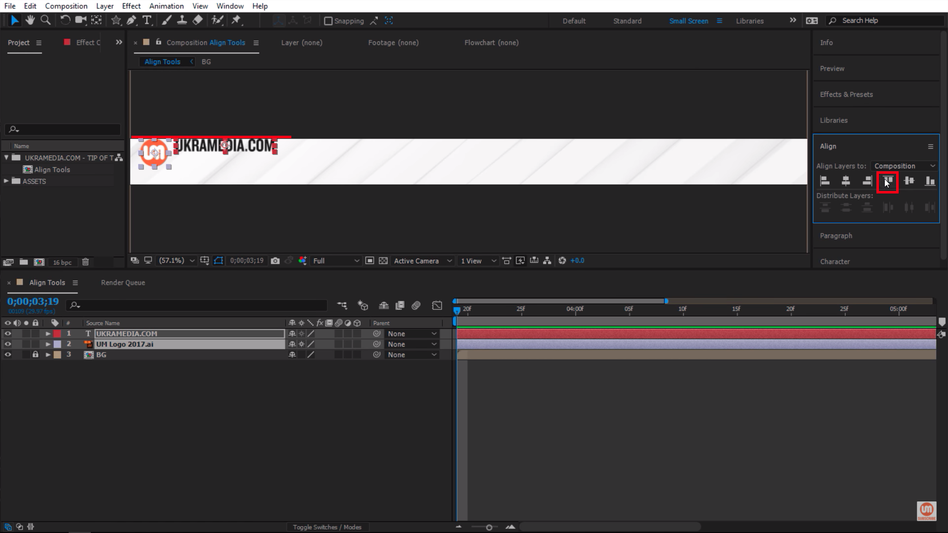 Align layer to the top of my composition in After Effects