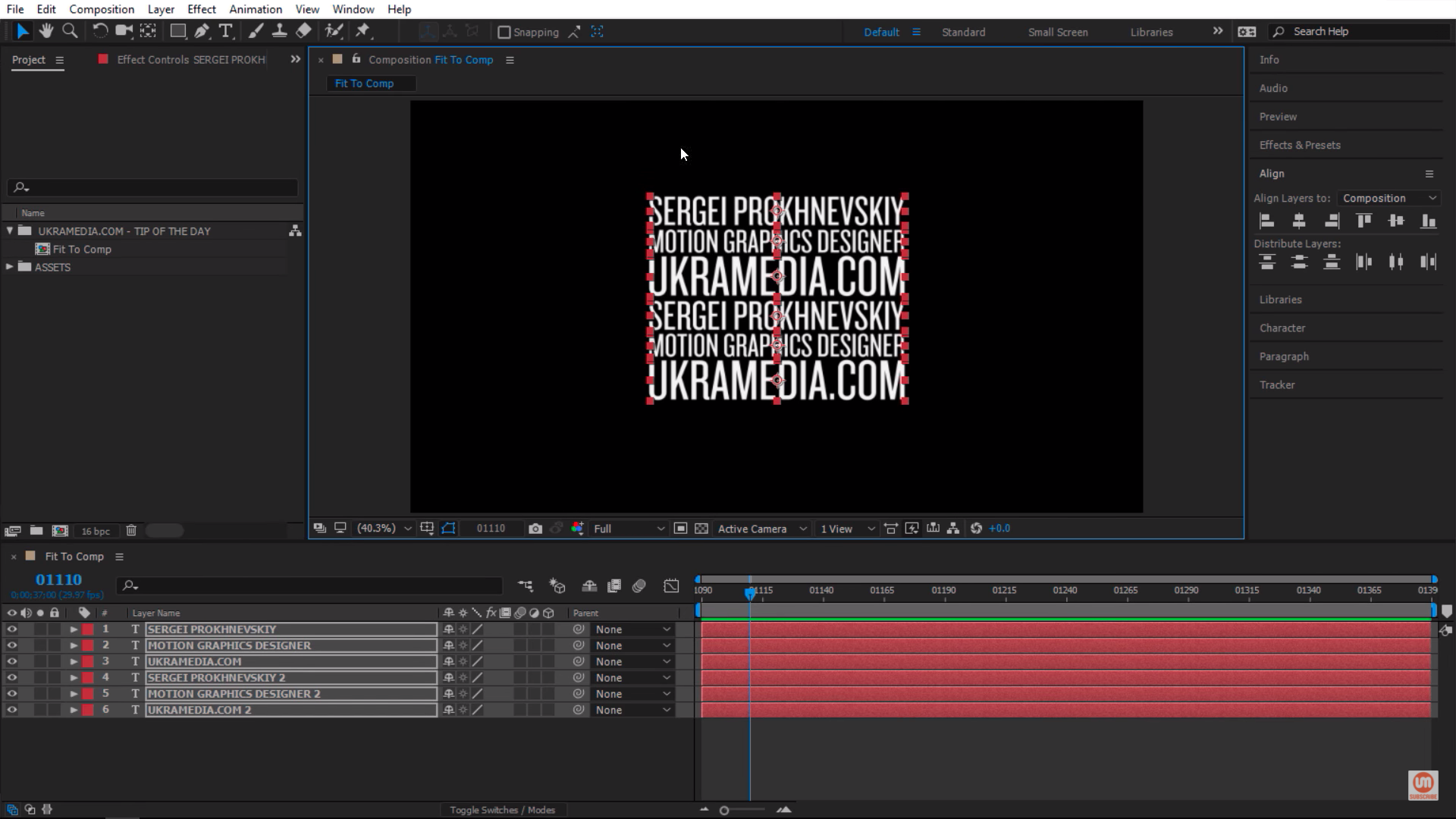 Align text layers in After Effects