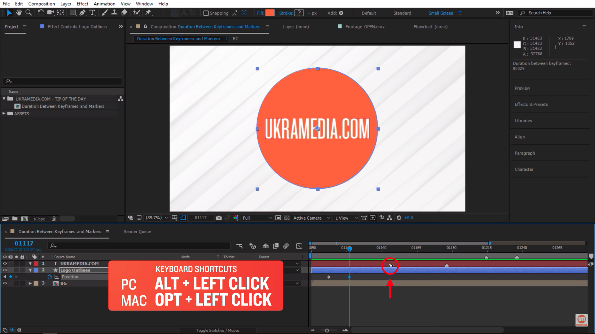 Alt click on the first market in After Effects