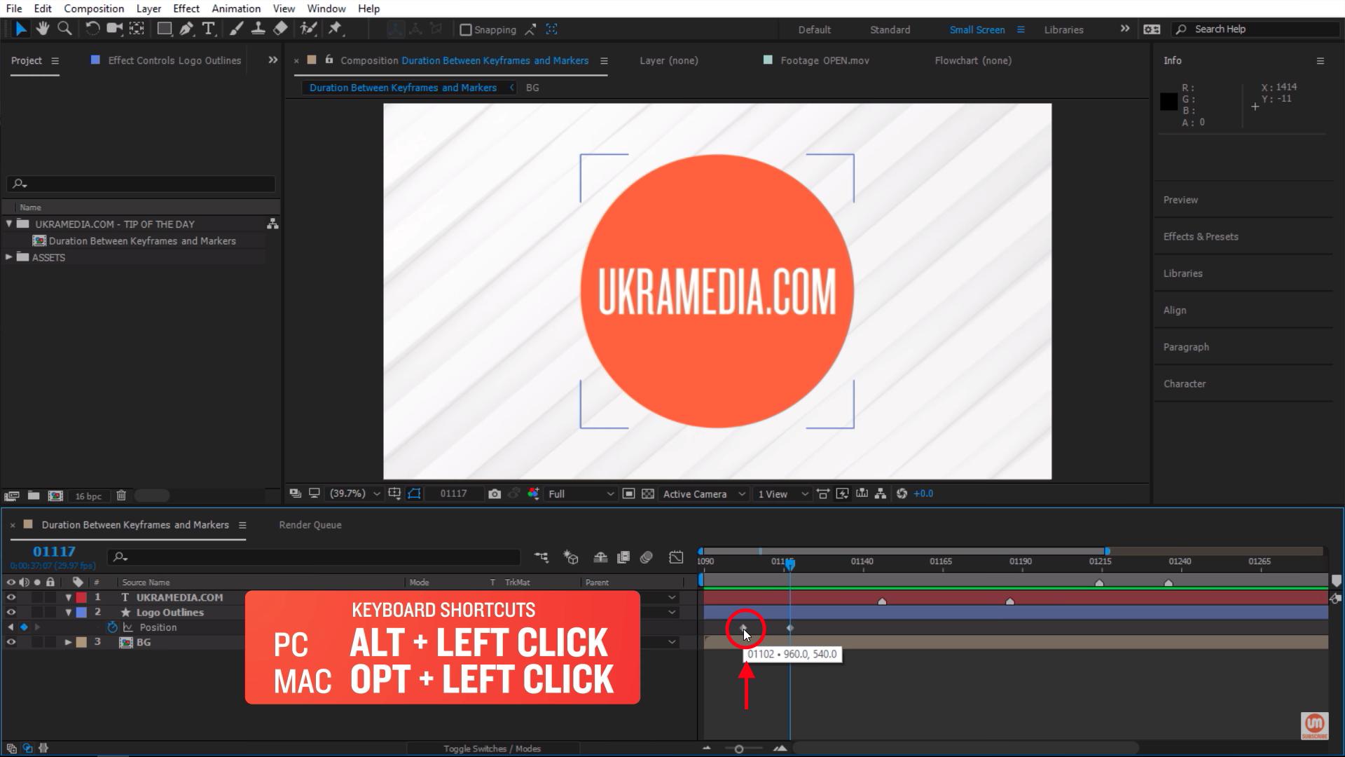 Alt left click After Effects keyframe