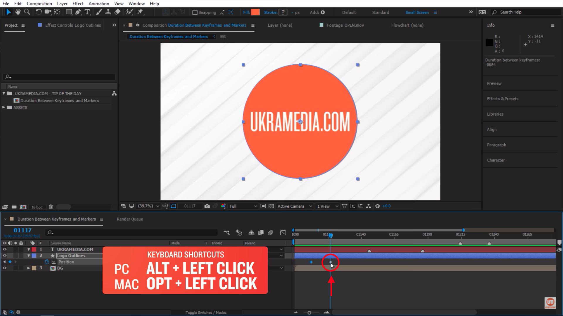 Alt left click second keyframe After Effects