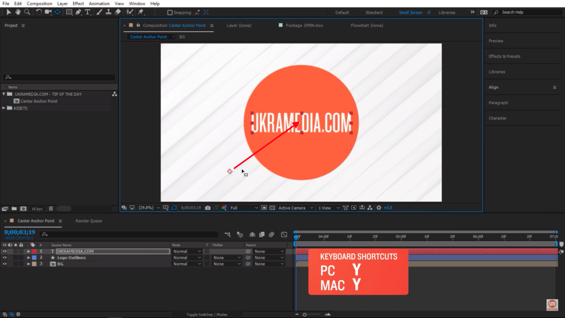 Anchor Point Center Shortcut Y After Effects