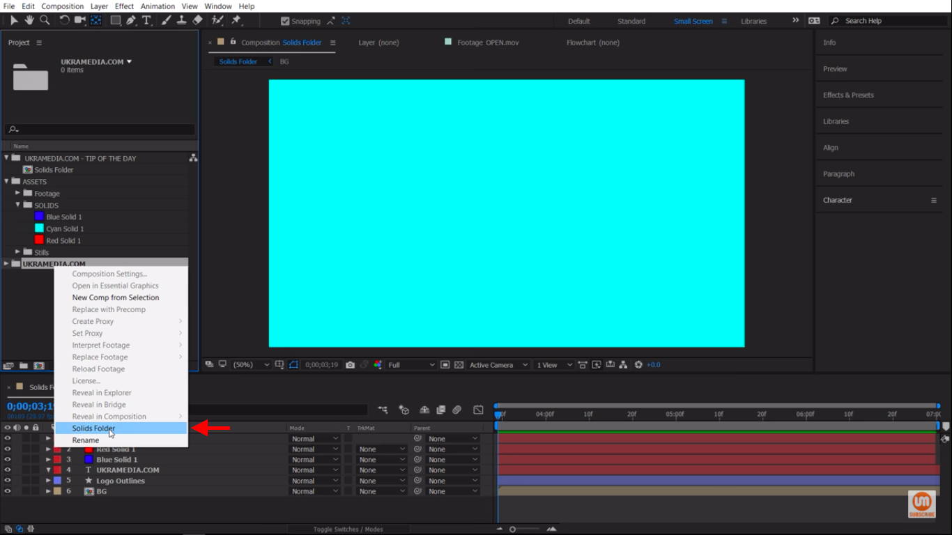 Assign New Solid Folder in After Effects