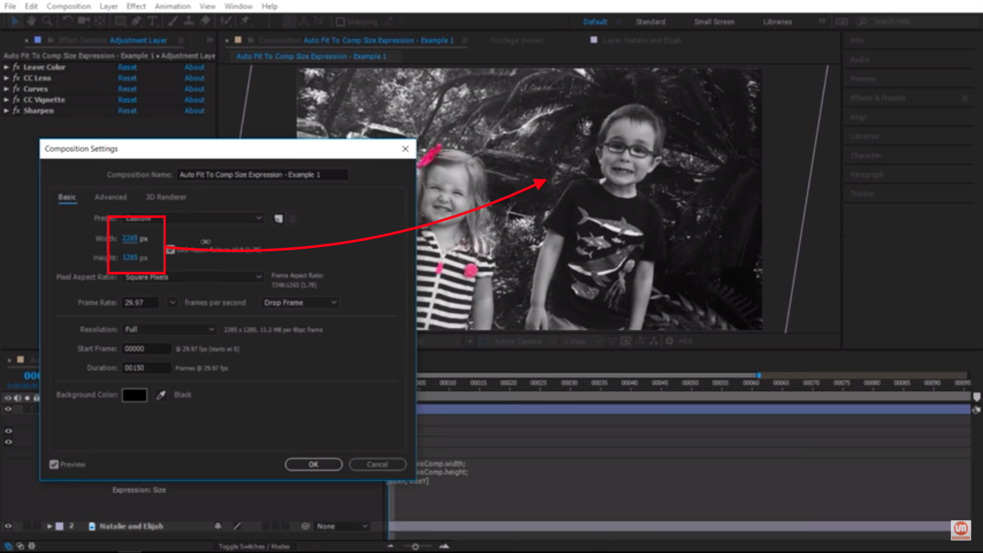 Auto Fit to Comp Size Expression After Effects
