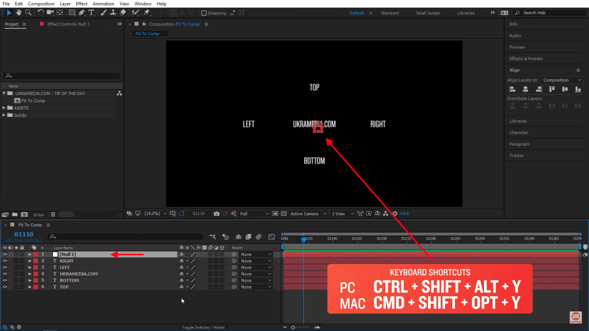 Bring null object in the composition in After Effects