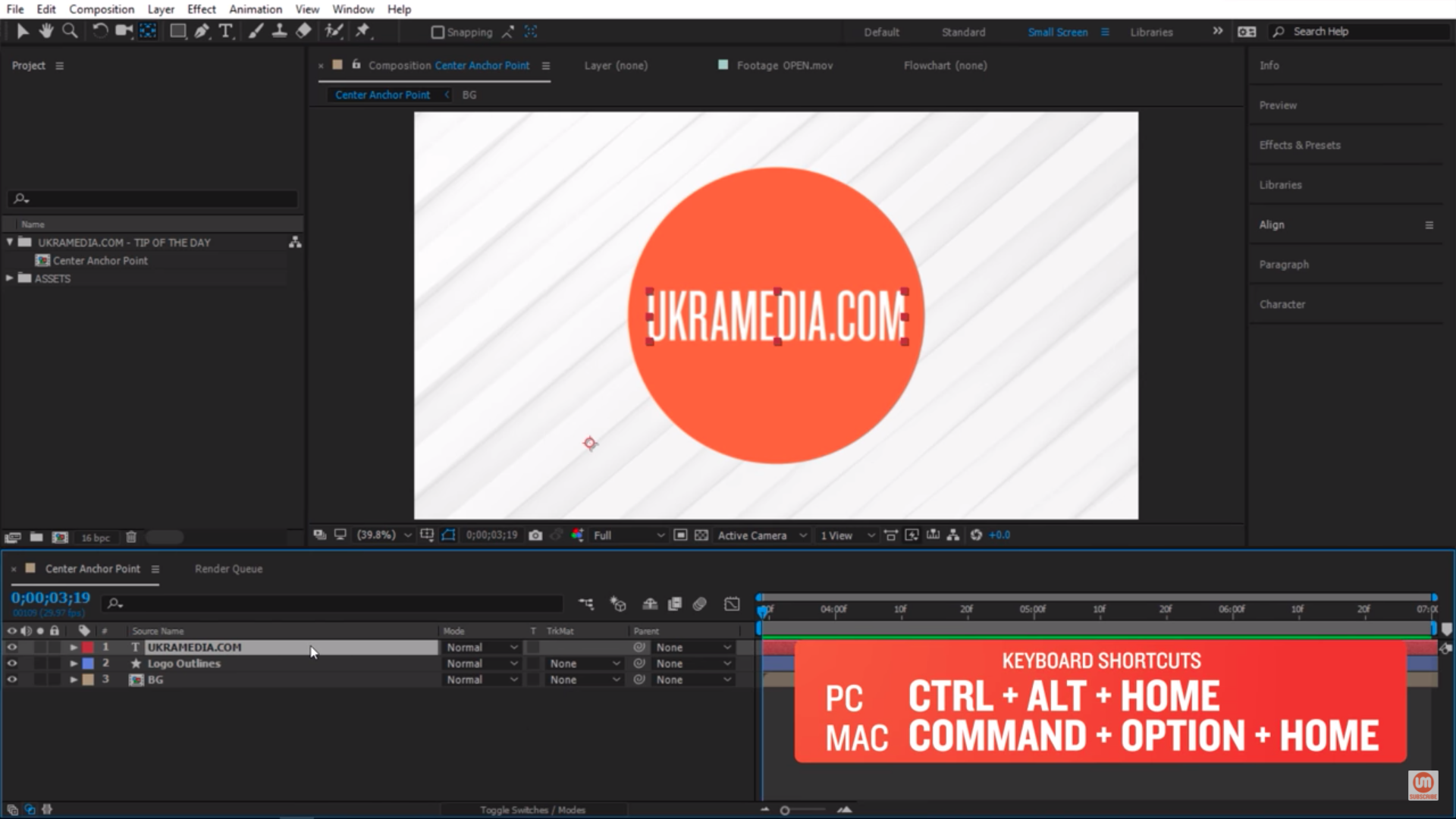Center Anchor Point Keyboard Shortcut After Effects