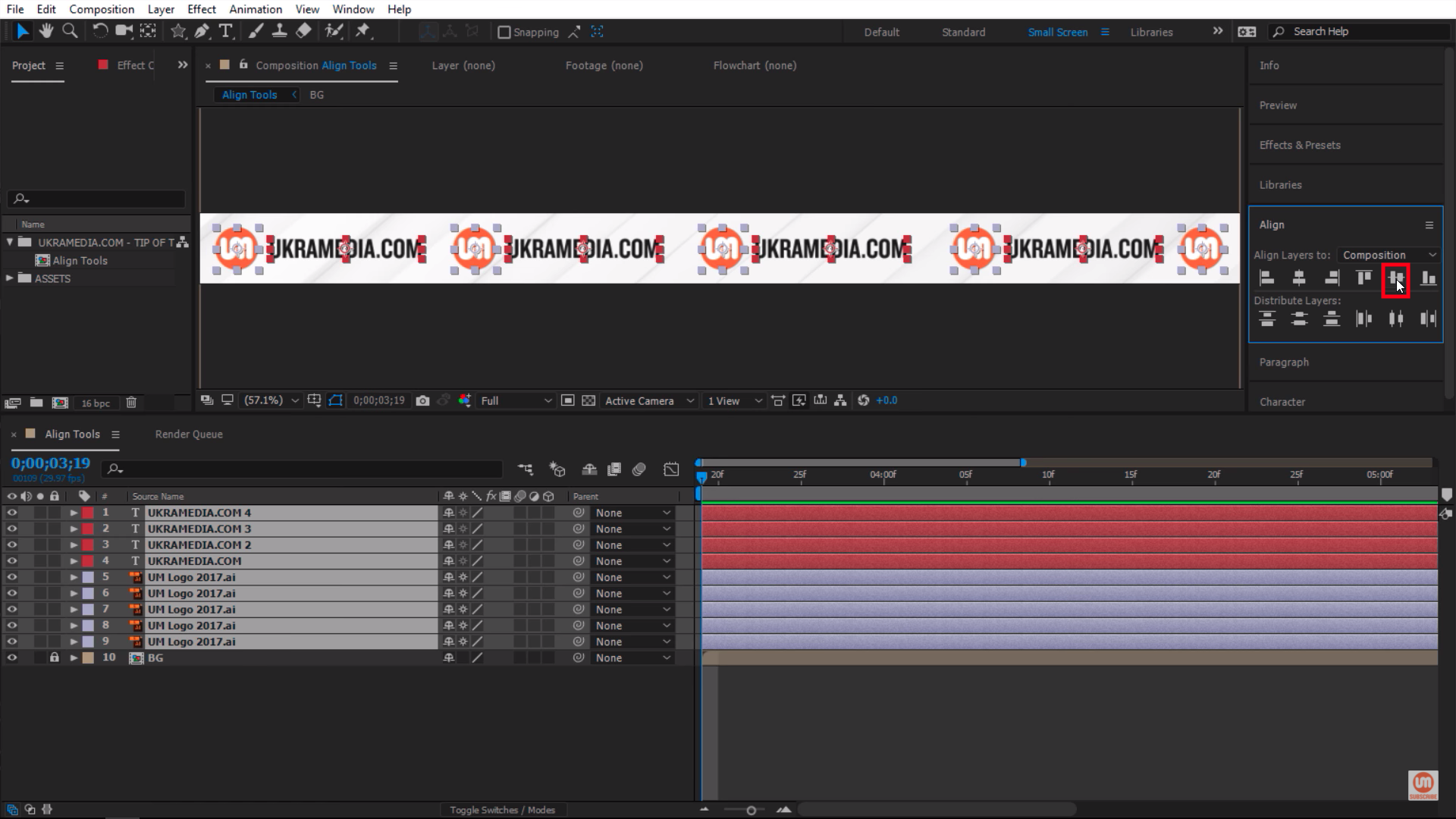 Center Vertical Alignment button After Effects
