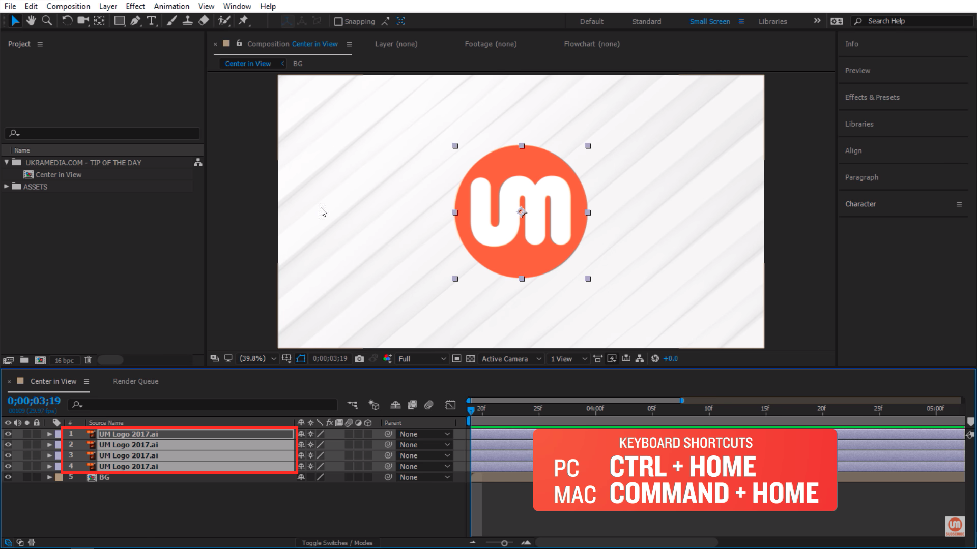 Center in view multiple objects in After Effects
