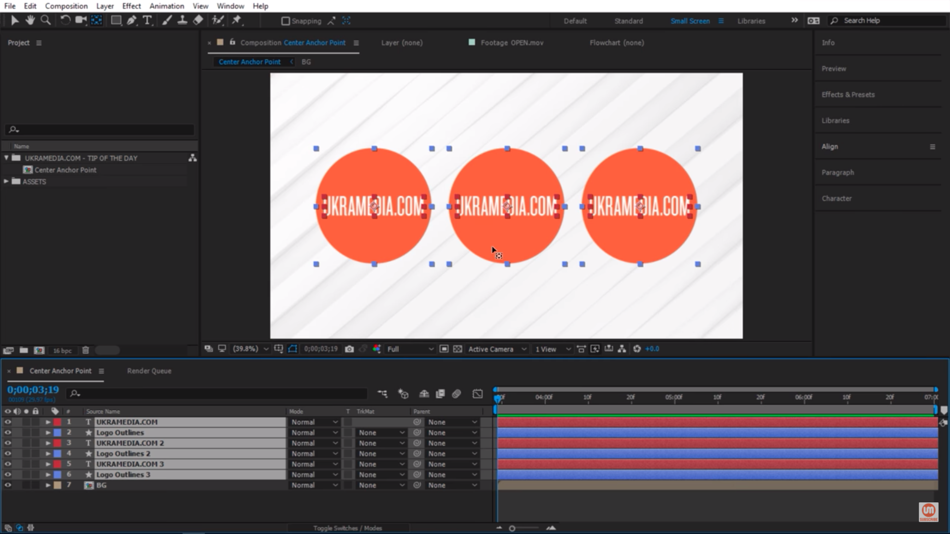 Centering Anchor Point for multiple layers in After Effects