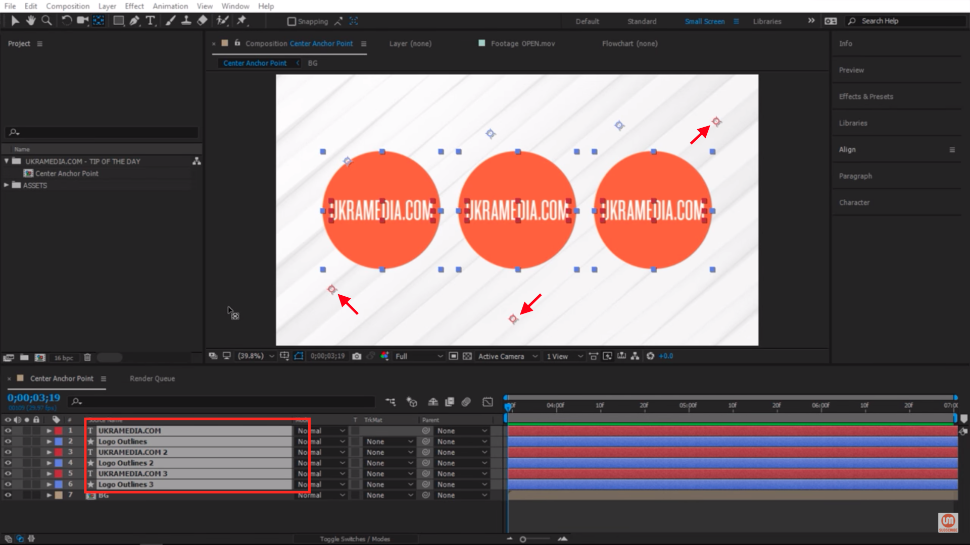Centering Anchor Points for multiple layers in After Effects