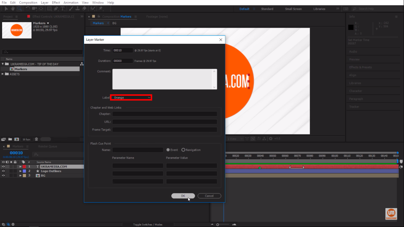 Change the color of layer market to orange in Adobe After Effects