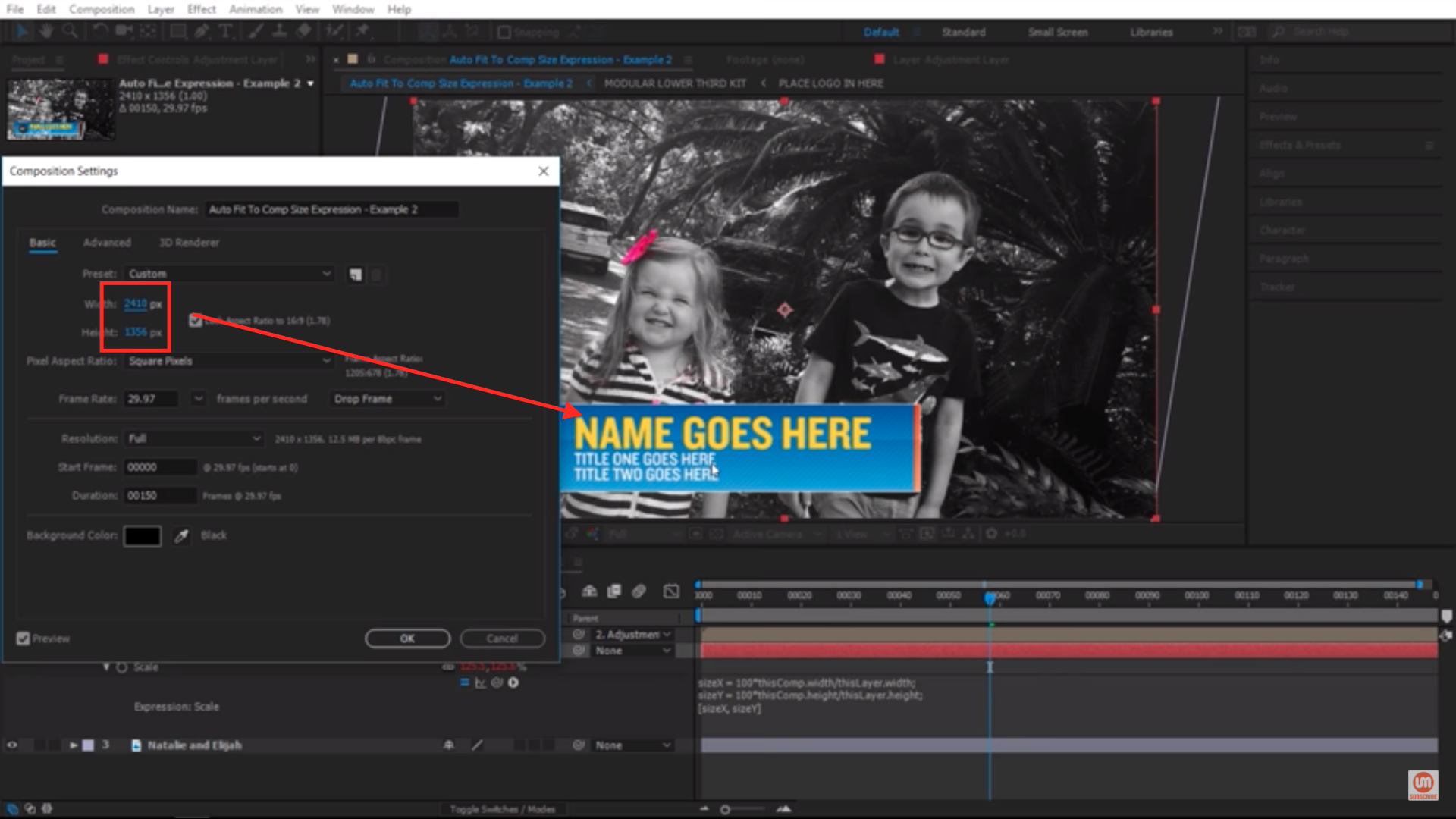 Changing the Size of Composition Settings in After Effects