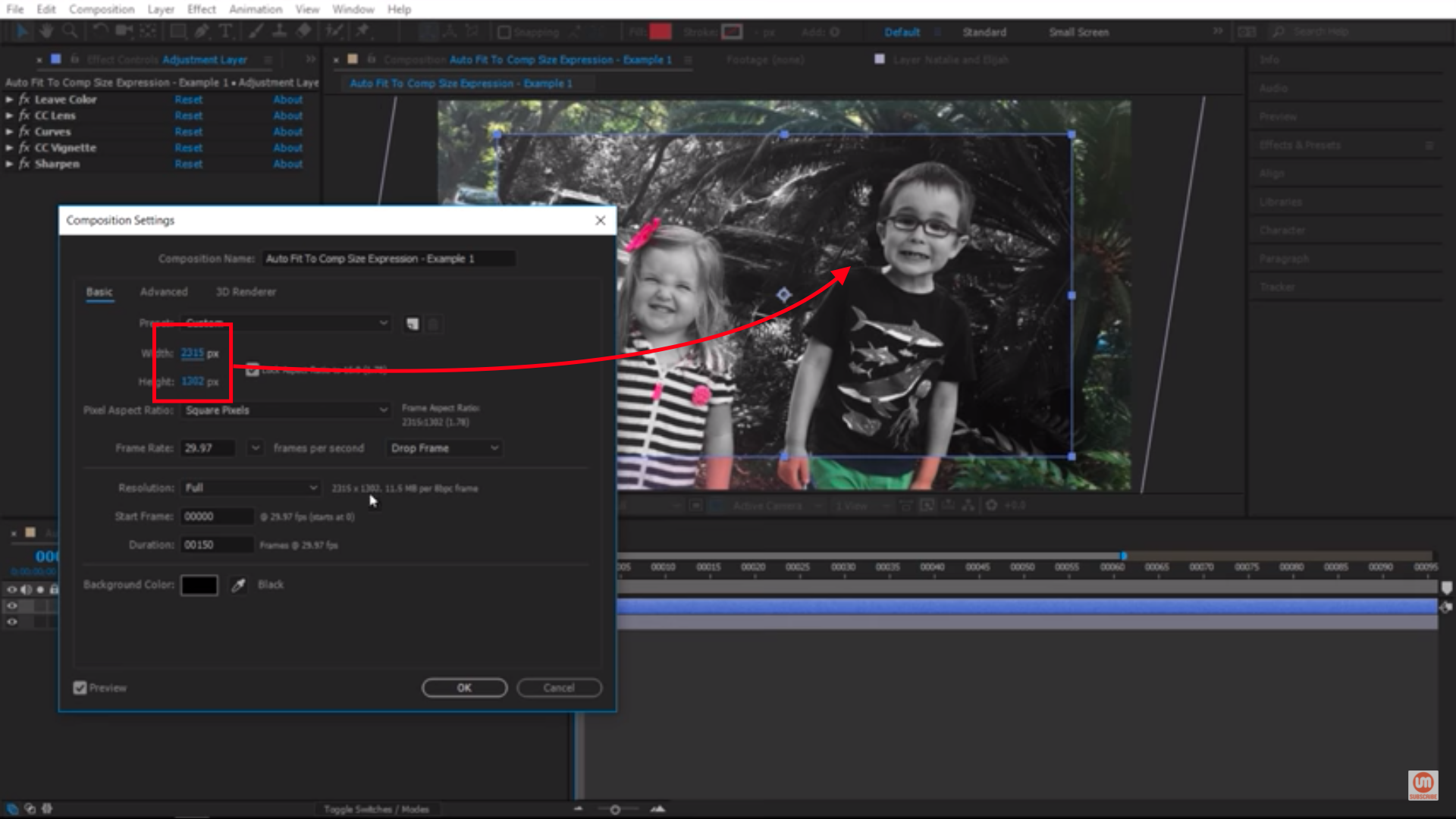 Changing the composition settings in After Effects