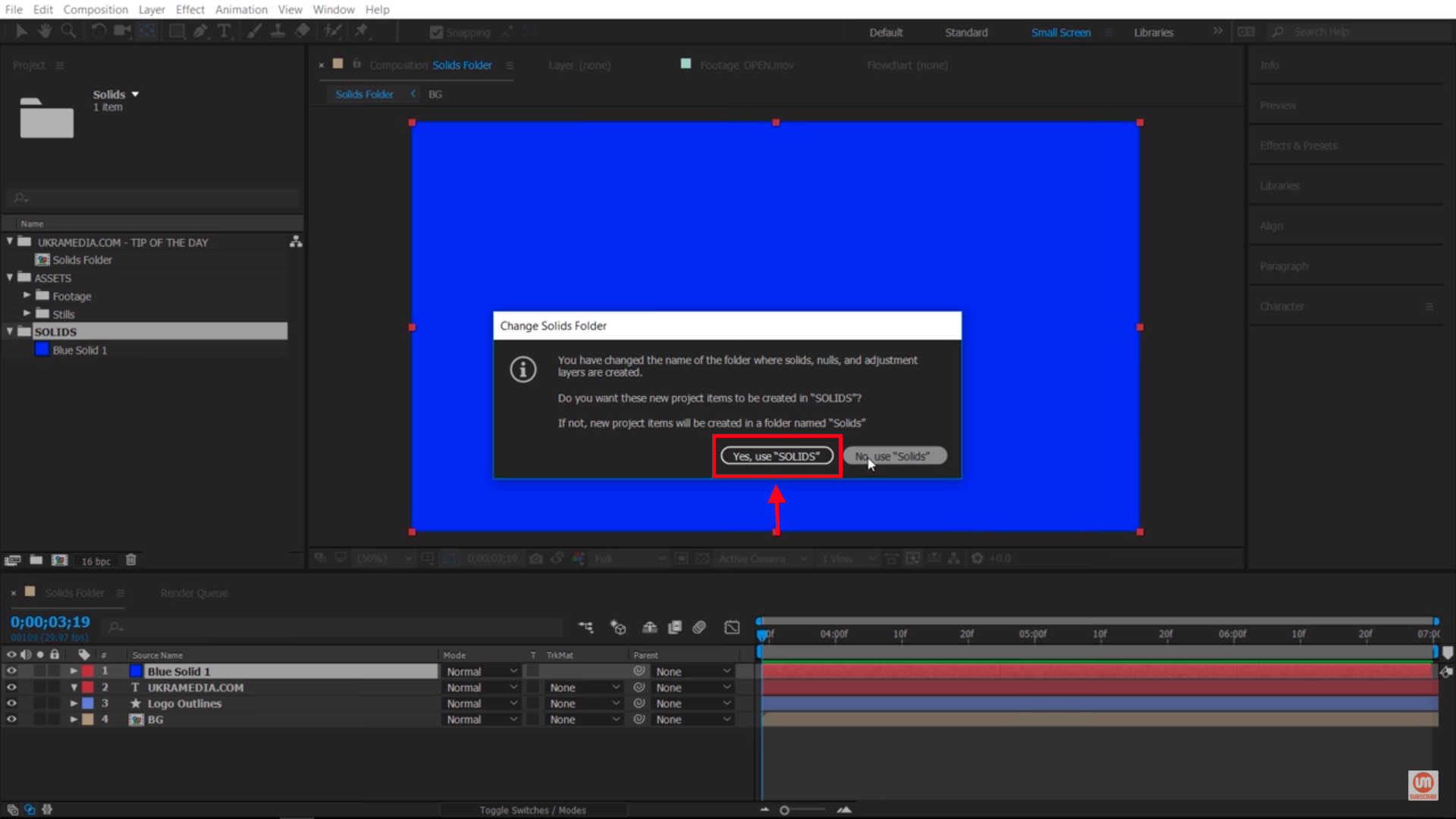 Changing the name of Solids Folder in After Effects