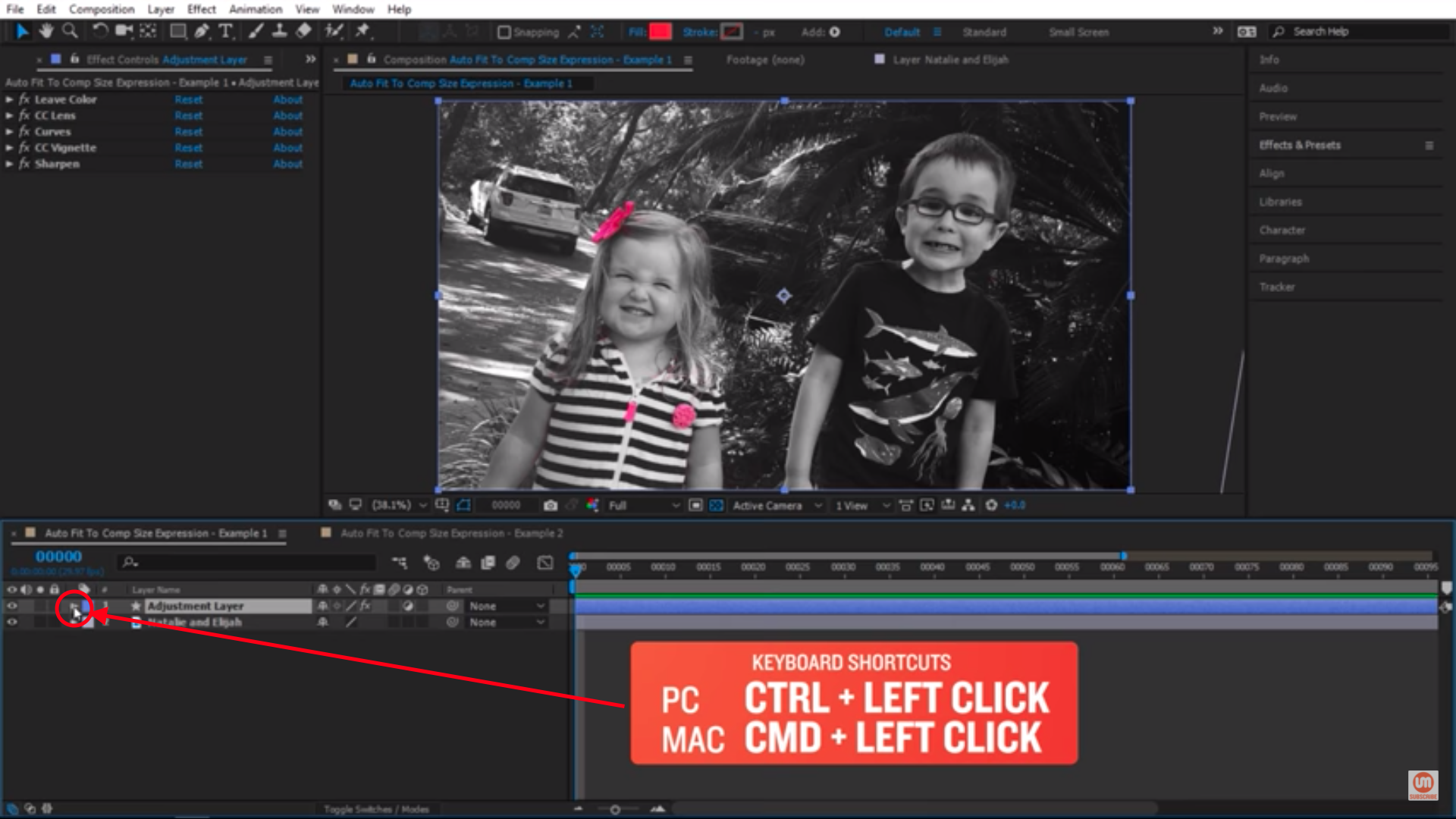 Click on the triangle in after effects