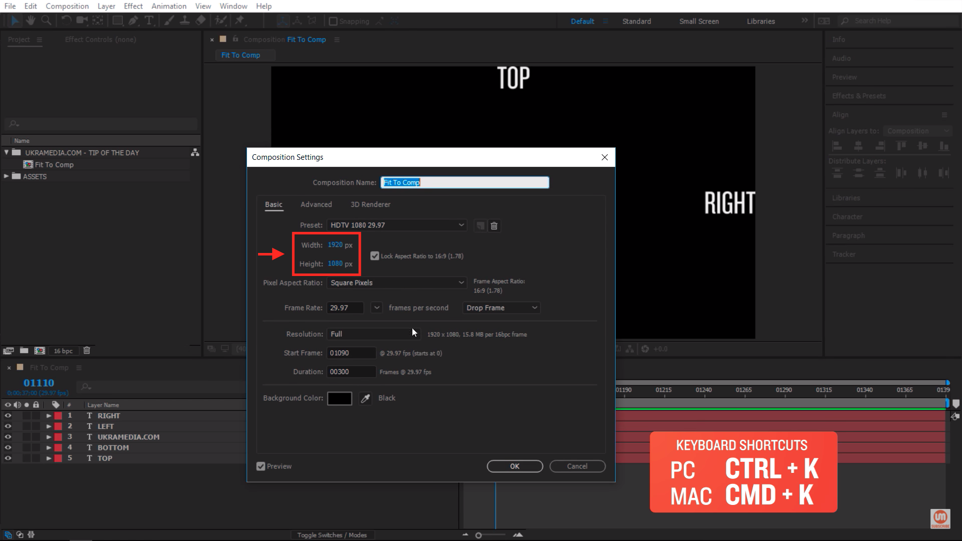 Composition Settings in Adobe After Effects
