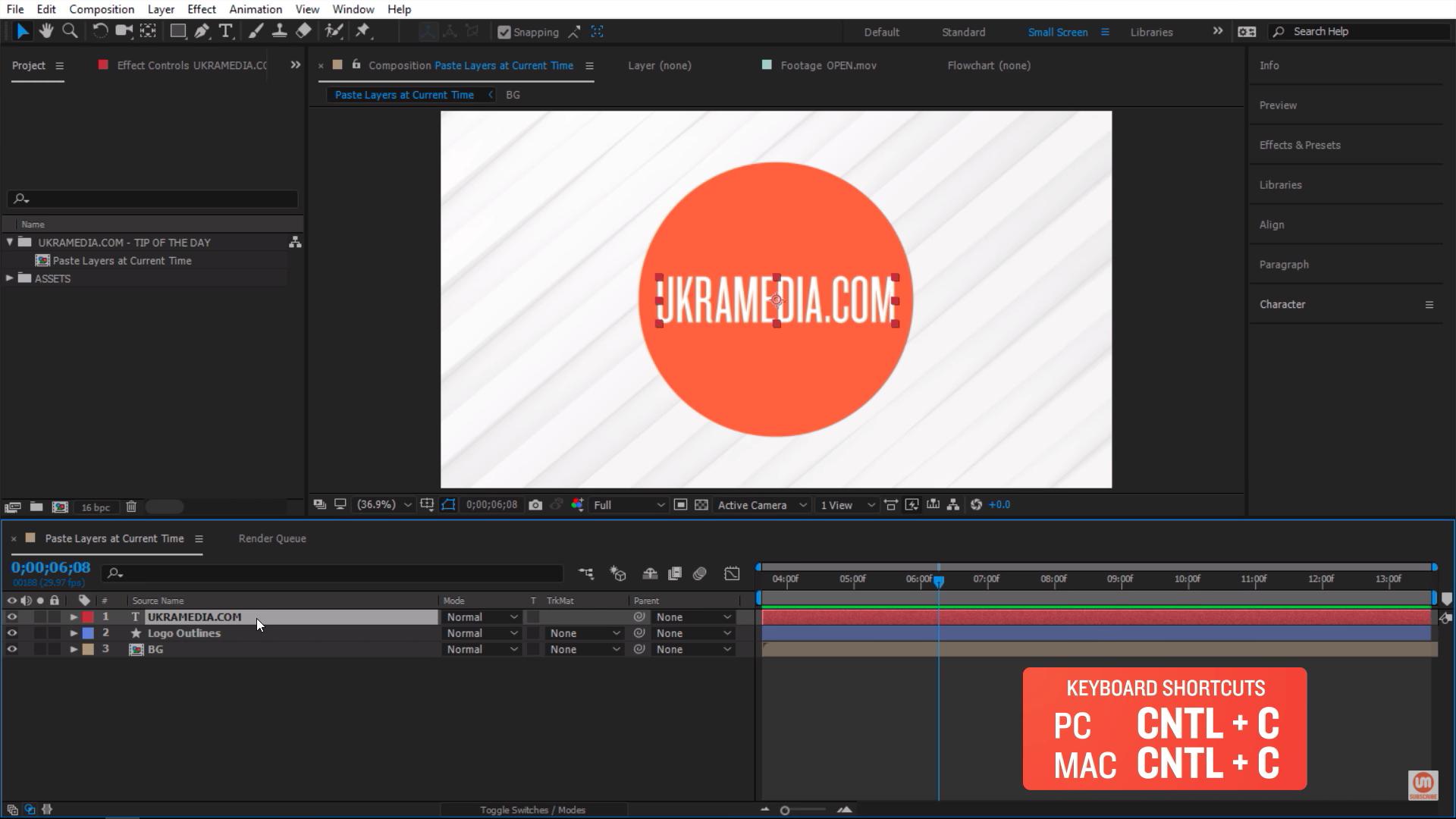 Copy keyboard shortcut in Adobe After Effects