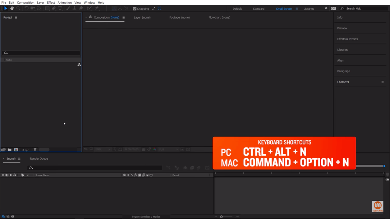 Create a new project in After Effects