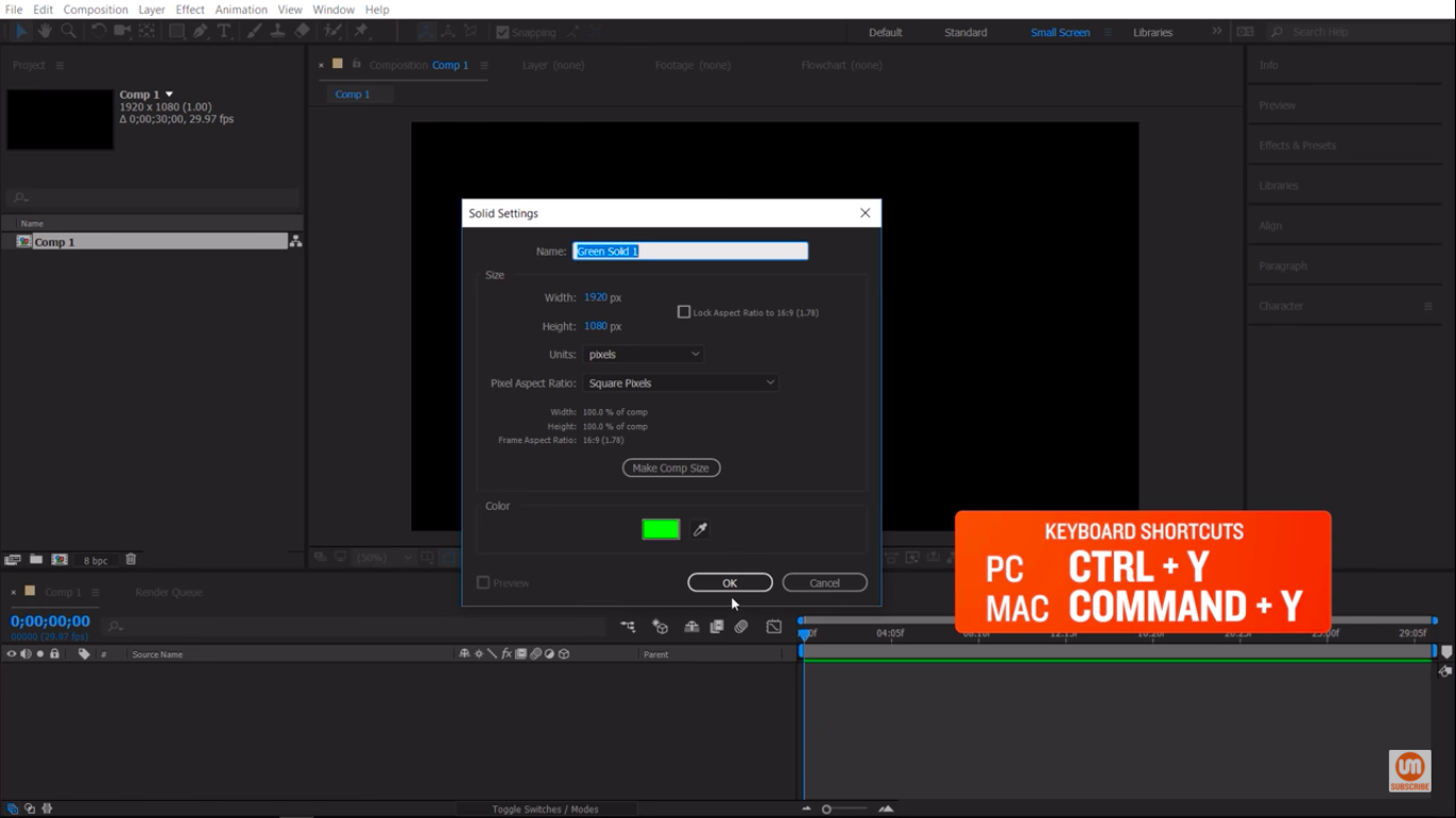 Create a new solid in After Effects