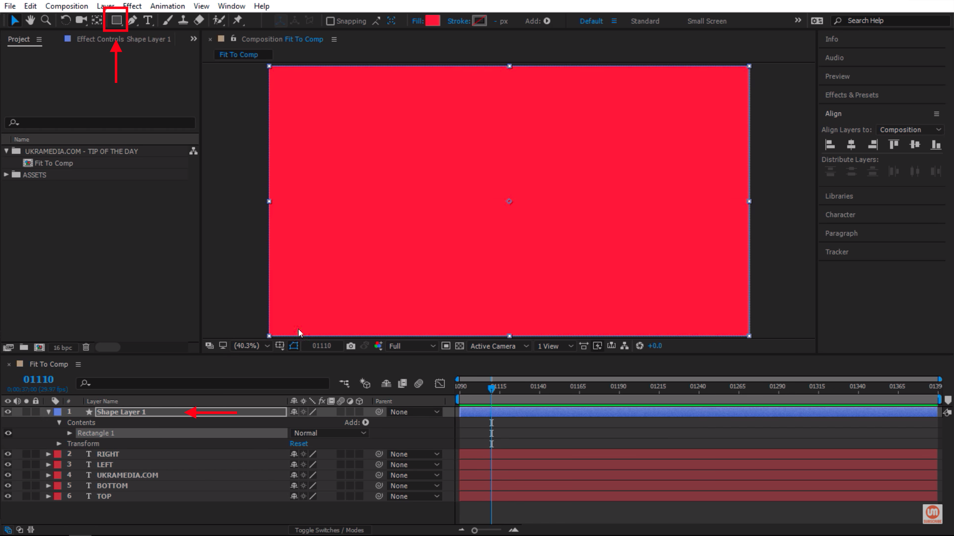 Create a shape layer in After Effects