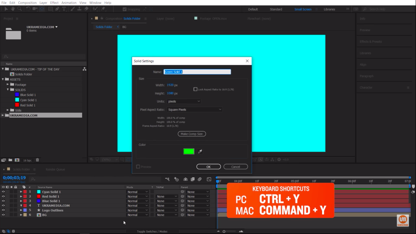 Creating New Solid in Adobe After Effects