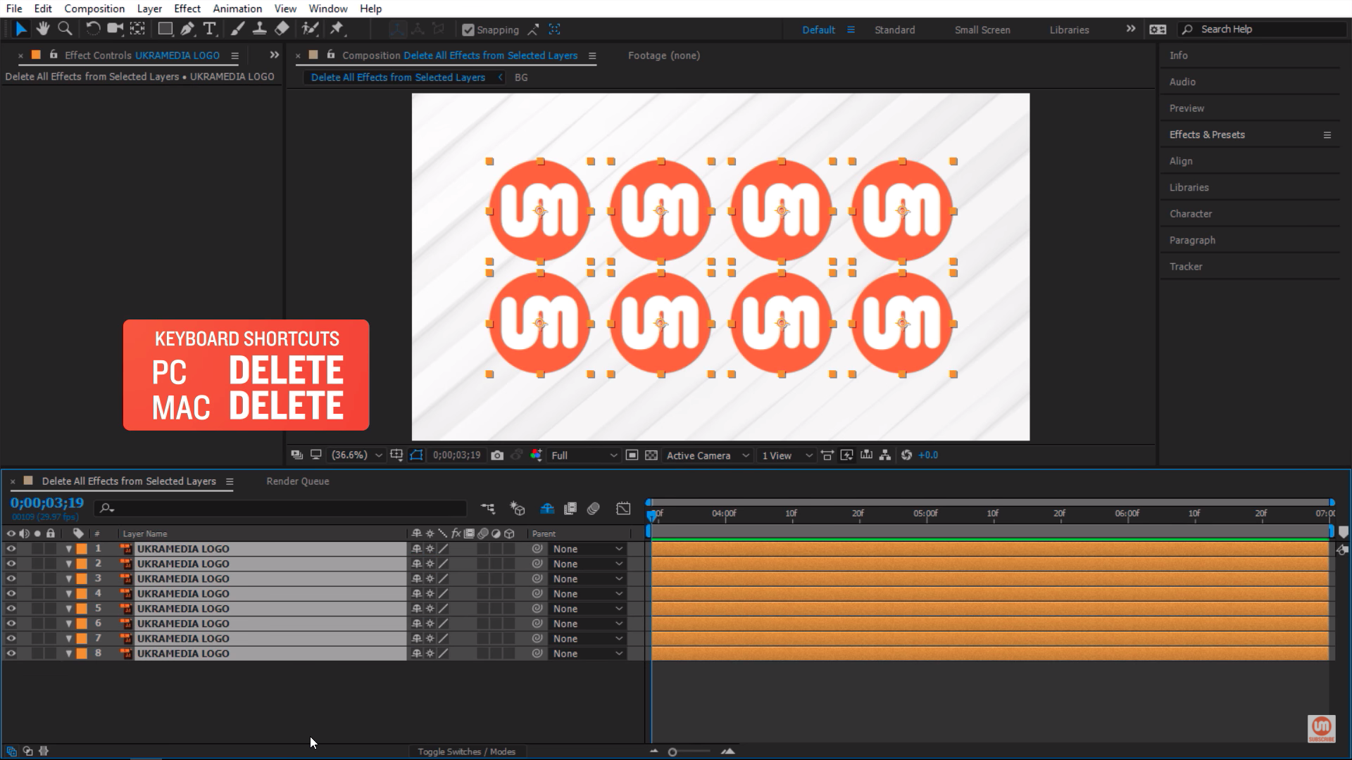Delete effects in Adobe After Effects
