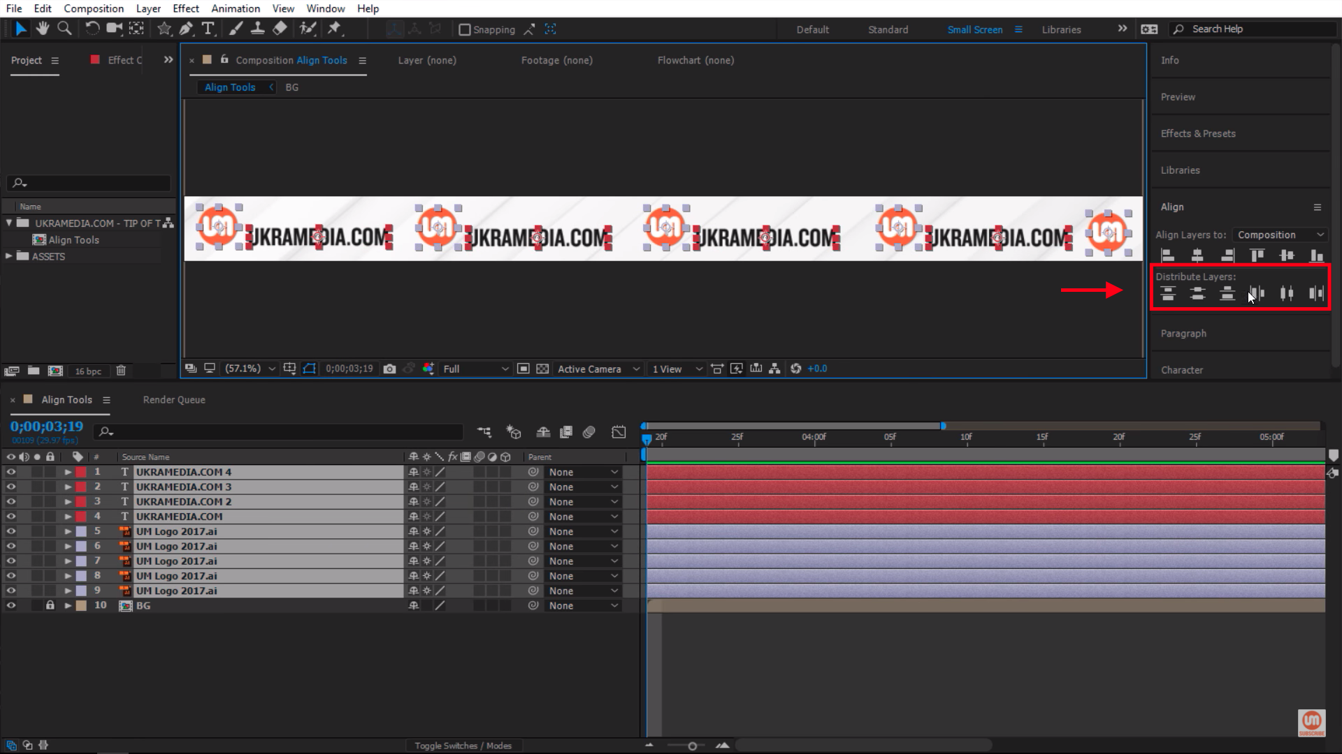 Distribute Layers Align Panel Options After Effects