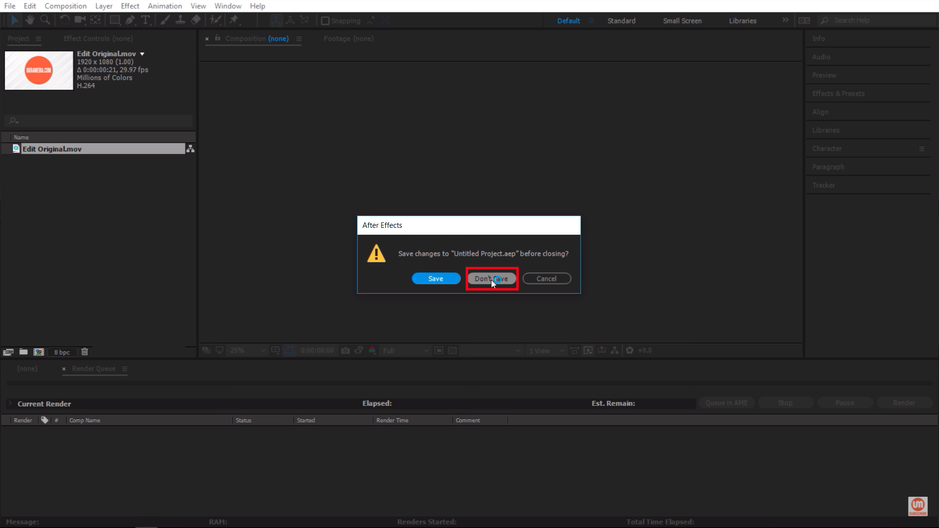 Don't Save Project File After Effects