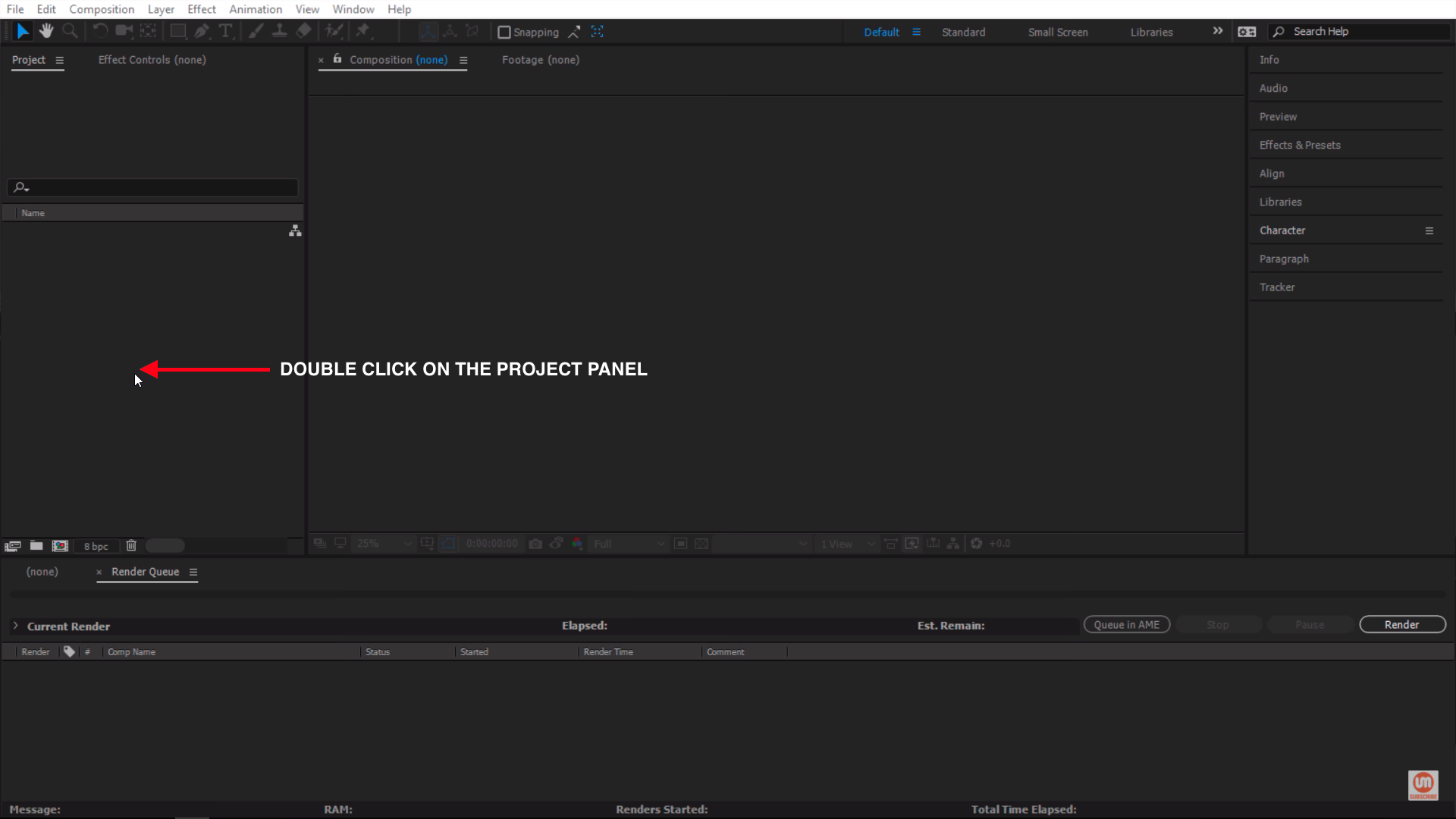 Double click on the project panel in After Effects