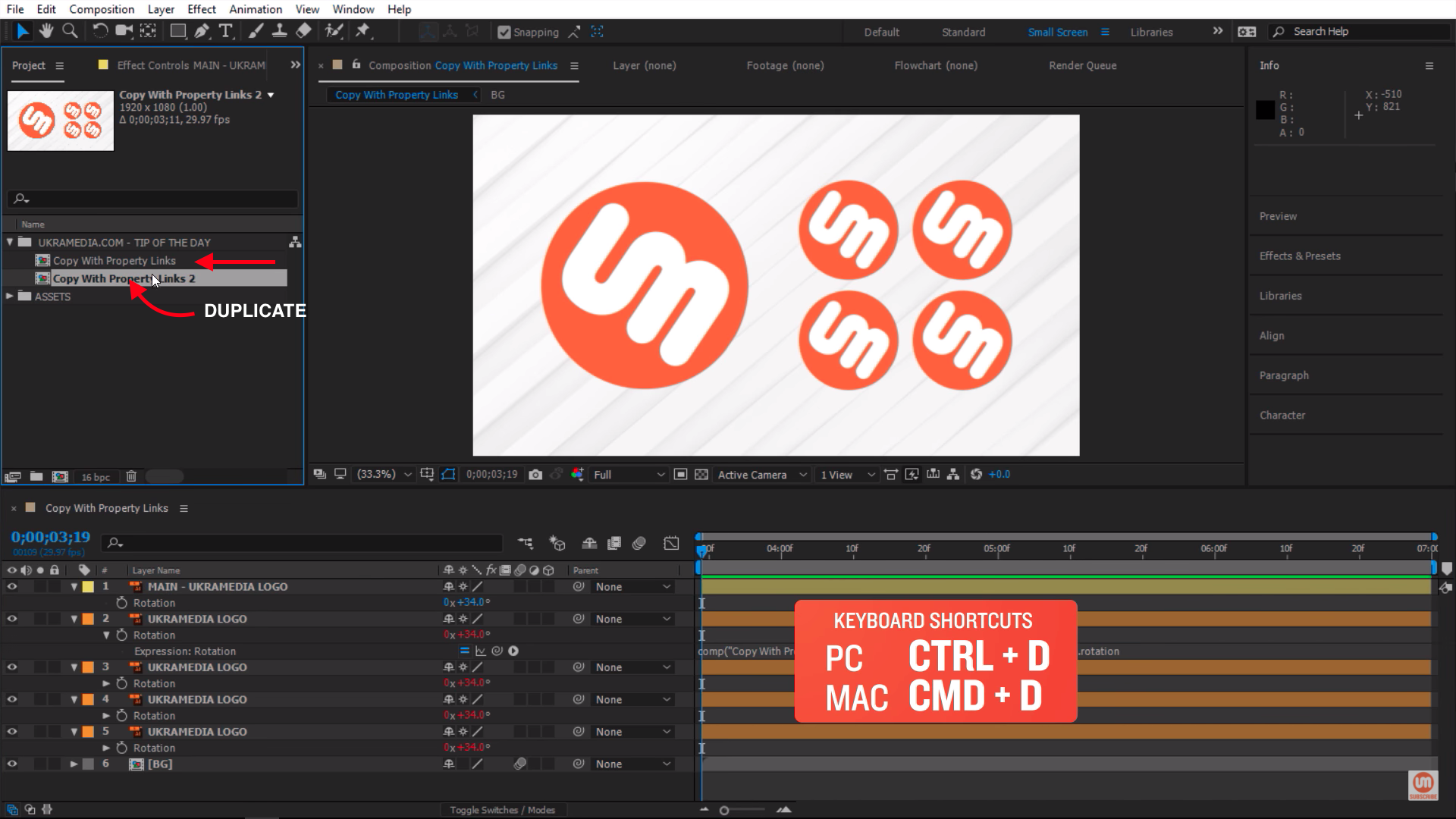 Duplicating Composition in After Effects with keyboard shortcut