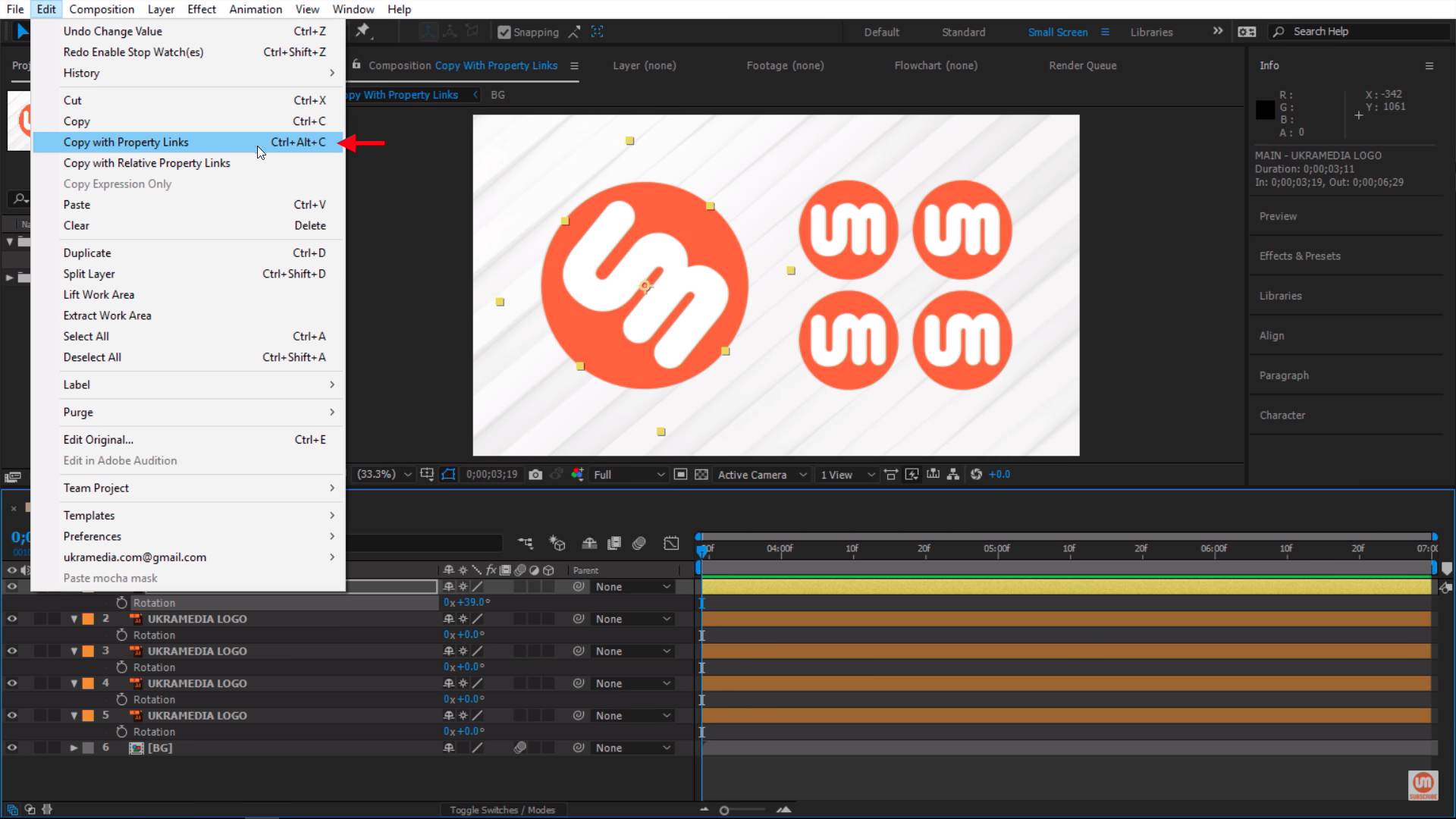 Edit with Propety Links in After Effects
