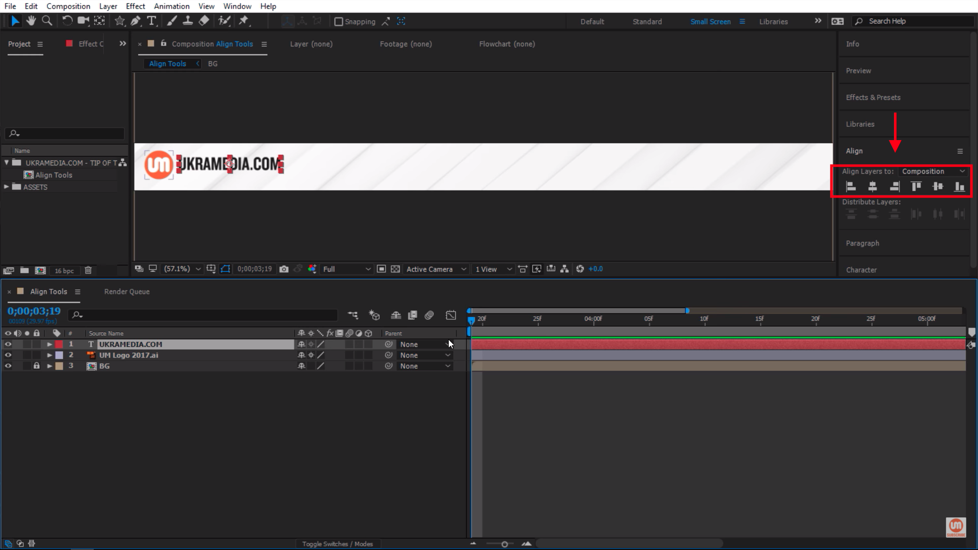Enabled Align Tools Panel After Effects