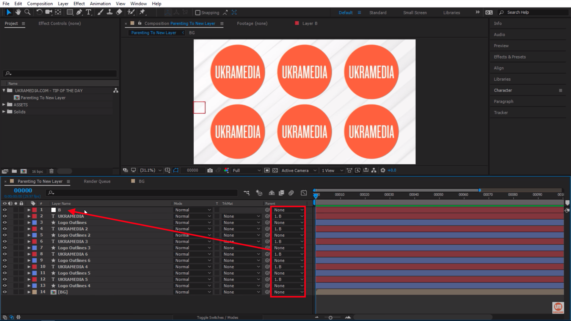 Everything switched to letter B in After Effects